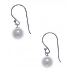 Boucles d'oreilles argent rhodié 0,7g - perle blanche synthétique