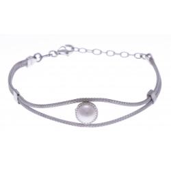 Bracelet argent rhodié 3,9g - perle de swarvoski - 16+3cm