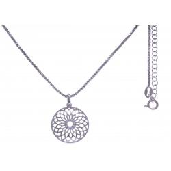 Collier argent rhodié 4,8g - zircons - 45+5cm