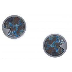 Boucles d'oreille en acier - chrysocolle - diamètre 12mm