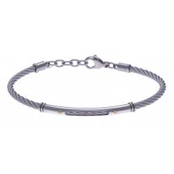 Bracelet acier - câble acier - or jaune 18KT 0,03gr - 19,5+15cm