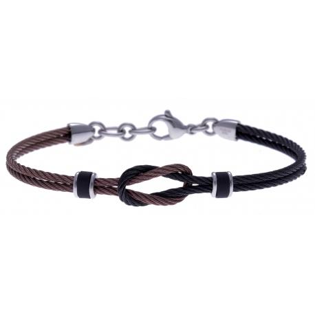 Bracelet acier - 3 tons - câble acier noir et marron - nœud marin - 19,5+1,5cm