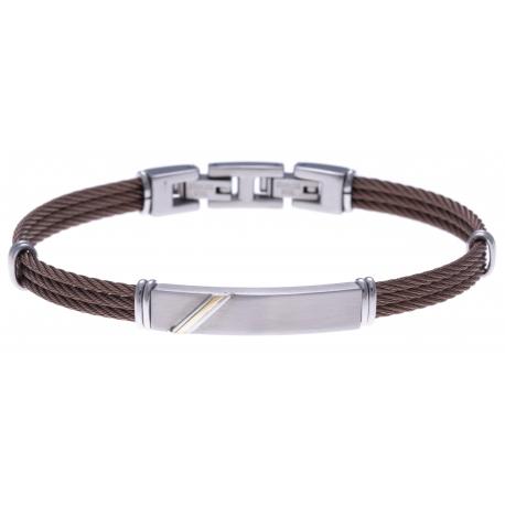 Bracelet acier - 3 câble marron - or jaune 18KT 0,04g - 19,5+1,5cm