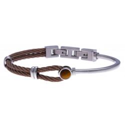Bracelet acier - câble acier marron - cabochon œil de tigre - 19,5+1,5cm - réglable