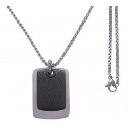 Collier acier 2 plaques - 1 plaque couleur acier 30x20mm - 1 plaque couleur acier noir 25x15mm - chaîne acier 50cm
