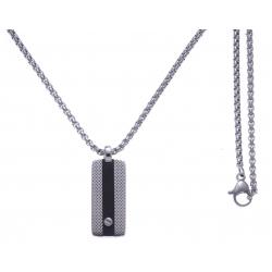 Collier acier 2 tons - acier et noir - plaque 25x10mm - vis - 50 CM