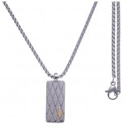 Collier acier - plaque - vis or jaune 18KT 0,04g - 50cm