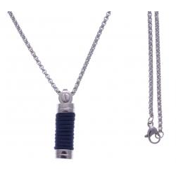 Collier acier 2 tons - 2 câble blancs - corde bleu foncée - 50cm