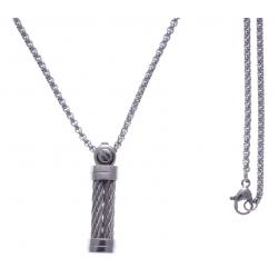 Collier acier - 2 câbles en acier blanc - vis - 50cm