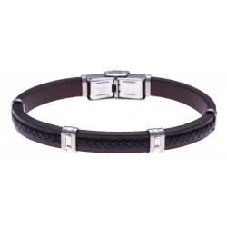 Bracelet acier - cuir tressé noir - cuir marron - or jaune 18KT 0,06gr - 21,5cm