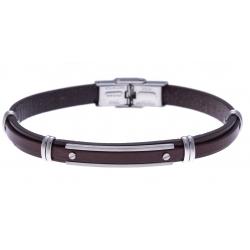 Bracelet acier - cuir italien marron  -  vis -21,5cm - réglable