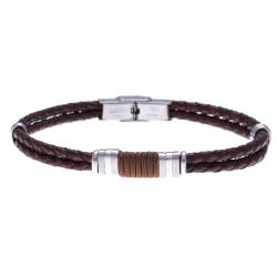 Bracelet acier - cuir italien marron - cordon marron - 21,5cm - réglable