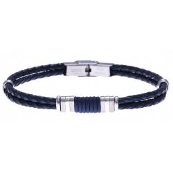 Bracelet acier - cuir italien bleu - cordon bleu - 21,5cm - réglable