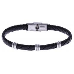 Bracelet acier - cuir tressé  italien noir  - 21,5cm - réglable