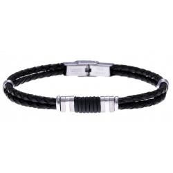 Bracelet acier - cuir italien noir - cordon noir - 21,5cm - réglable