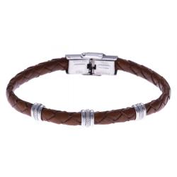 Bracelet acier - cuir tressé  italien marron  - 21,5cm - réglable