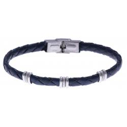 Bracelet acier - cuir tressé  italien bleu  - 21,5cm - réglable