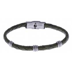 Bracelet acier - cuir tressé  italien vert militaire - 21,5cm - réglable