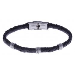 Bracelet acier - cuir tressé italien gris - 21,5cm - réglable