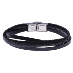 Bracelet acier - cuir italien et cuir tressé italien noir  - 3 rangs - 21,5cm - réglable