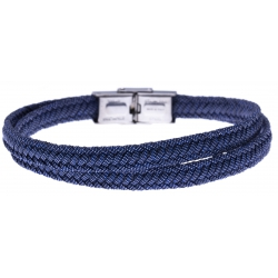 Bracelet acier - jeans tressé véritable - 21,5cm - réglable