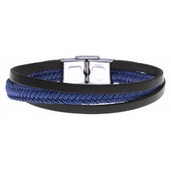Bracelet acier - cuir italien noir - jeans tressé véritable - 21,5cm - réglable