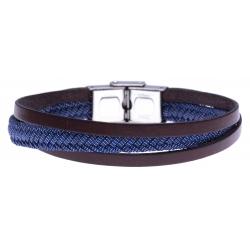 Bracelet acier - cuir italien marron - jeans tressé véritable - 21,5cm - réglable