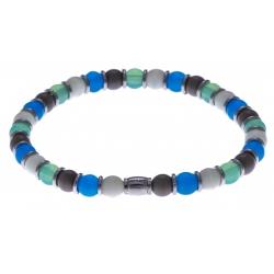 Bracelet acier - verre de murano - tons bleu clair, bert, gris, blanc - élastique - 20cm