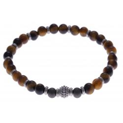 Bracelet acier pour homme - élastique - œil de tigre - composants acier - 21cm