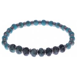 Bracelet acier pour homme - élastique - granite -  turquoise reconstituée - composants en acier - 21cm