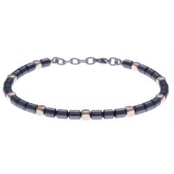 Bracelet acier - hématite noir et rose enrobée - 19+4cm