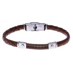 Bracelet acier - cuir marron tressé italien - 2 câbles marron  - 21,5cm - réglable