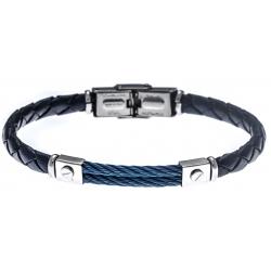 Bracelet acier - cuir bleu tressé italien - 2 câbles bleu  - 21,5cm - réglable