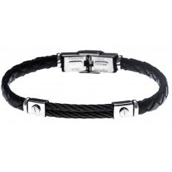 Bracelet acier - cuir noir tressé italien - 2 câbles noir - 21,5cm - réglable