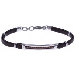 Bracelet acier - cuir marron italien - câble marron - 19+4cm