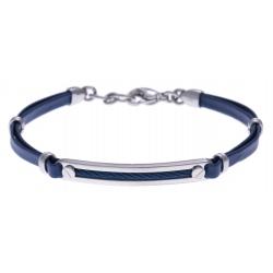 Bracelet acier - cuir bleu italien - câble bleu - 19+4cm