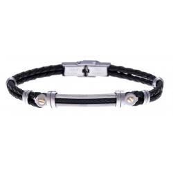 Bracelet acier - cuir noir tressé italien - câble noir - or jaune 18KT 0,04gr - 21,5cm - réglable