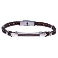 Bracelet acier - cuir marron tressé italien - câble marron - or jaune 18KT  0,04gr  - 21,5cm - réglable
