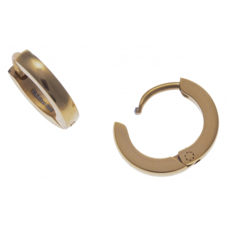 Créoles acier doré  - diamètre 1cm