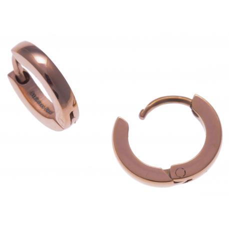 Créoles acier rosé  - diamètre 1cm