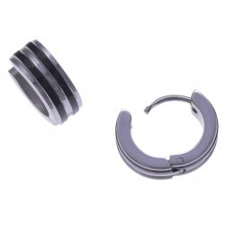 Créoles acier 2 tons noir et blanc - diamètre 1,2cm