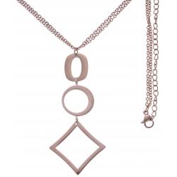 Collier en acier rosé - 2 ronds + goutte - hauteur pendentif 7cm - longueur double chaîne 45+7cm