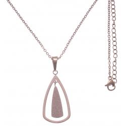 Collier en acier rosé - hauteur pendentif 3cm - longueur chaîne 45+7cm