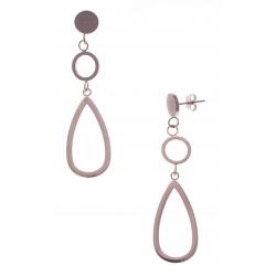 Boucles d'oreille en acier rosé - hauteur 6cm
