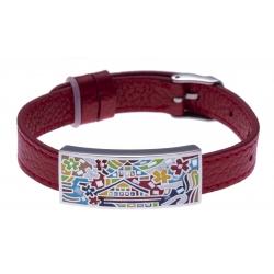 Bracelet acier - maison colorée - émail - nacre - cuir rouge - largeur 1cm - bracelet montre réglable