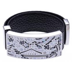 Bracelet acier - maison noir&blanc - émail - nacre - cuir noir - largeur 2cm - longueur 23,5cm