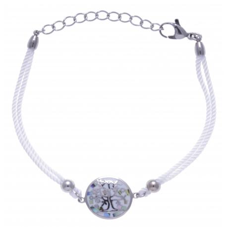Bracelet acier - arbre de vie - nacre - émail - coton blanc - 16+4cm