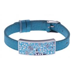 Bracelet acier - arbre de vie - émail - nacre - cuir bleu - largeur 1cm - bracelet montre réglable
