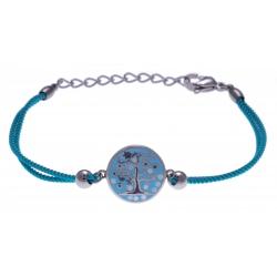Bracelet acier - arbre de vie - nacre - émail - coton bleu - 16+4cm