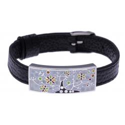Bracelet acier - arbre de vie - émail - nacre - cuir noir - largeur 1cm - bracelet montre réglable